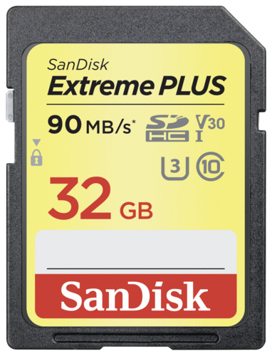 Extreme Plus SDHC 32GB 90MB/s. V30