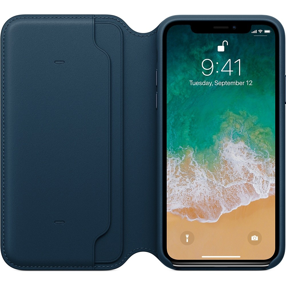 iPhone X Leather Folio Cosmos Blue