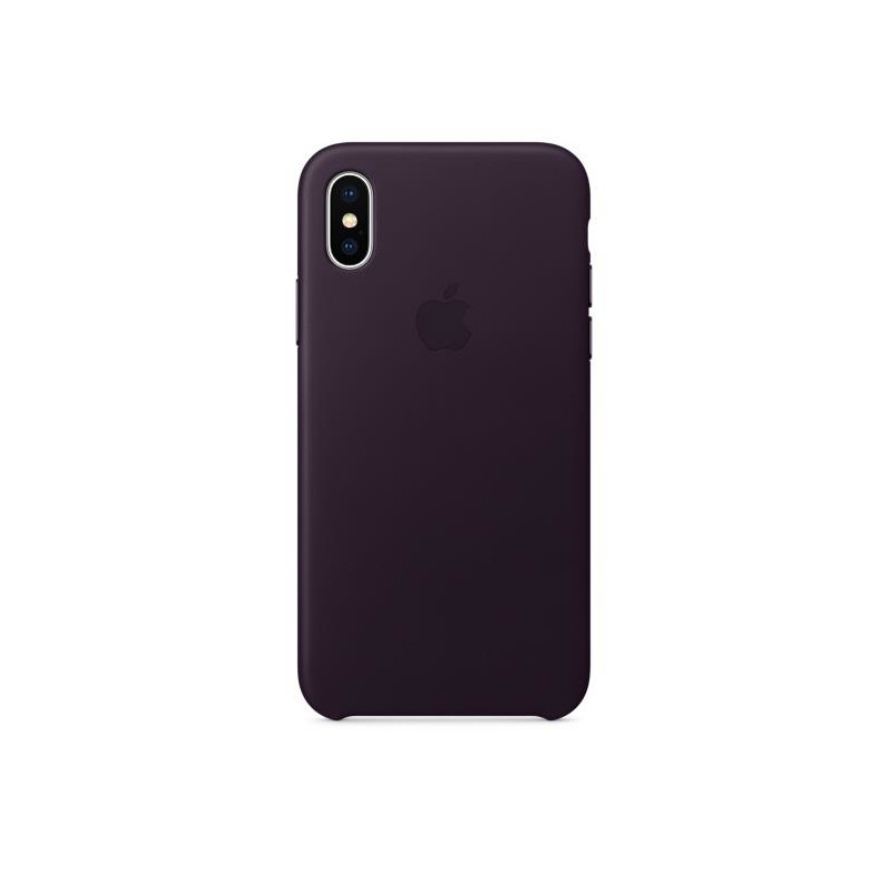 iPhone X Leather Case Dark Aubergine
