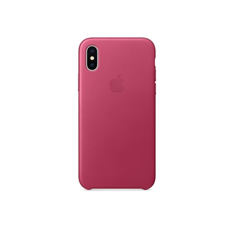 iPhone X Leather Case Pink Fuchsia