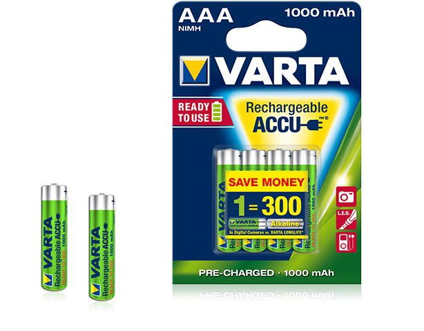 1x4 Rechargeable Accu AAA Ready2Use NiMH 1000 mAh Micro