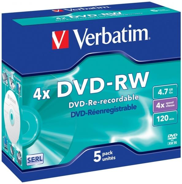 Verbatim DVD-RW 4,7GB 4x Speed, Jewel Case 1x5set