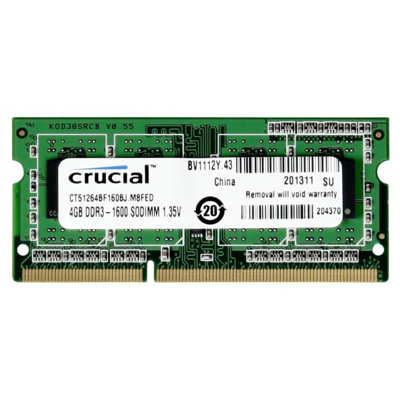 4GB DDR3 1600 MT/s CL11 PC3-12800 204pin single ranked