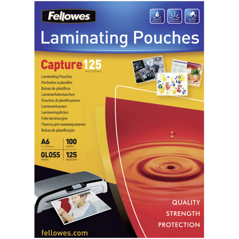 A6 Glossy 125 Micron Laminating Pouch - 100 pack