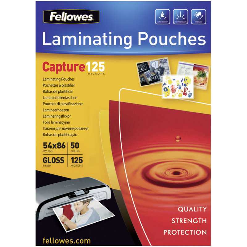 Glossy 125 Micron 50pcs Card Laminating Pouch - 54x86 mm