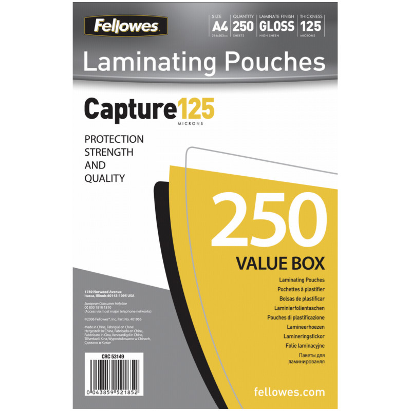 A4 Glossy 125 Micron Laminating Pouch 250-Value Pack