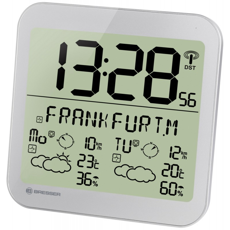 MyTime Meteotime LCD weather clock silver